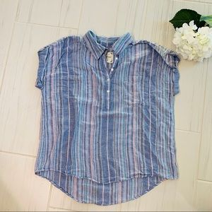 Blue stripe 100% Cotton Cap sleeve shirt Blouse XL